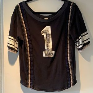 Free People T-shirt with embroidery. Size L